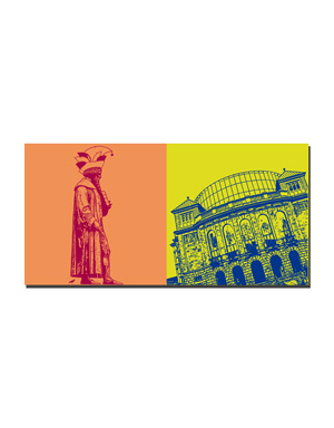 ART-DOMINO® BY SABINE WELZ Mainz - Gutenberg-Denkmal Fastnacht + Staatstheater Mainz