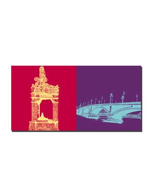 ART-DOMINO® BY SABINE WELZ Mainz - Marktbrunnen + Theodor-Heuss-Brücke