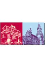 ART-DOMINO® BY SABINE WELZ München - Siegestor + Neues Rathaus