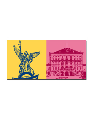 ART-DOMINO® BY SABINE WELZ München - Friedensengel + Schloss Nymphenburg