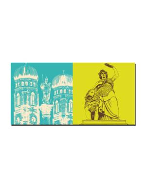 ART-DOMINO® BY SABINE WELZ München - Frauenkirche + Bavaria