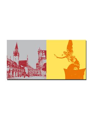 ART-DOMINO® BY SABINE WELZ München - Viktualienmarkt + Friedensengel