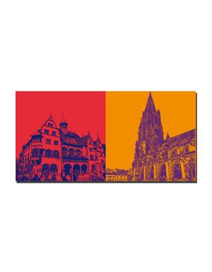 ART-DOMINO® BY SABINE WELZ Freiburg - Neues Rathaus + Münsterkirche