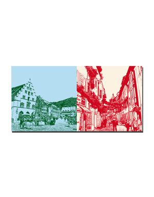 ART-DOMINO® BY SABINE WELZ Freiburg - Kornhaus/Münsterplatz + Münzgasse