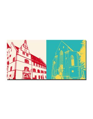 ART-DOMINO® BY SABINE WELZ Freiburg - Altes Rathaus + Martinskirche