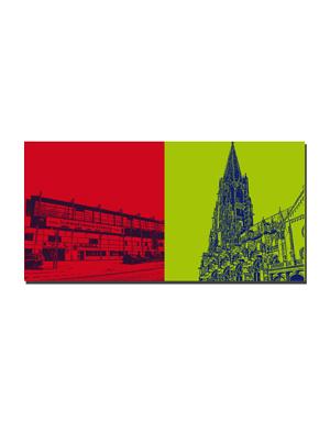 ART-DOMINO® BY SABINE WELZ Freiburg - Schwarzwaldstadion + Münsterkirche