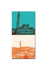 ART-DOMINO® BY SABINE WELZ Siena - Palazzo Pubblico & Torre del Mangia + Panorama mit Rathaus