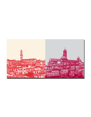 ART-DOMINO® BY SABINE WELZ Siena - Panorama mit Rathaus + Panorama mit Dom