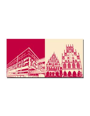 ART-DOMINO® BY SABINE WELZ Münster - Gehorche Keinem + Rathaus/Stadtweinhaus
