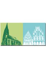 ART-DOMINO® BY SABINE WELZ Münster - St. Lamberti-Kirche + Rathaus/Stadtweinhaus