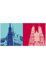 ART-DOMINO® BY SABINE WELZ Nürnberg - Schöner Brunnen und IHK + St. Lorenz