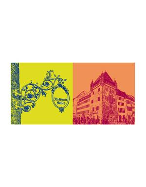 ART-DOMINO® BY SABINE WELZ Nürnberg - Nassauer Keller-Schild + Nassauer Haus