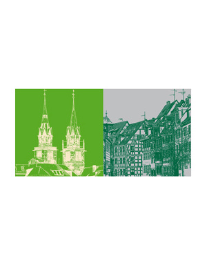 ART-DOMINO® BY SABINE WELZ Nürnberg - St. Lorenz + Weissgerbergasse
