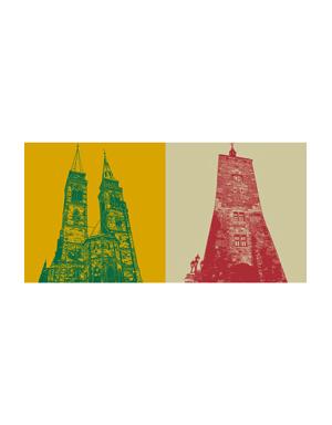 ART-DOMINO® BY SABINE WELZ Nürnberg - St. Sebald + Weisser Turm