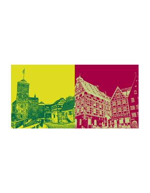 ART-DOMINO® BY SABINE WELZ Nürnberg - Kaiserburg + Beim Tiergärtnertor