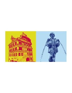 ART-DOMINO® BY SABINE WELZ Nürnberg - Albrecht-Dürer-Haus + Gänsemännchen-Brunnen