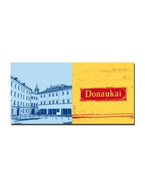 ART-DOMINO® BY SABINE WELZ Passau - Domplatz, Blick auf St. Paul + Schild Donaukai