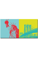 ART-DOMINO® BY SABINE WELZ New York - Freiheitsstatue + Brooklyn Bridge