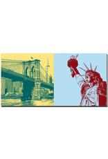 ART-DOMINO® BY SABINE WELZ New York - Brooklyn Bridge + Freiheitsstatue