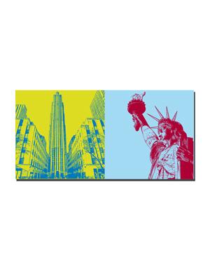 ART-DOMINO® BY SABINE WELZ New York - Rockefeller Center + Freiheitsstatue