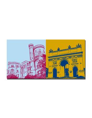ART-DOMINO® BY SABINE WELZ Potsdam - Schloss Babelsberg + Brandenburger Tor