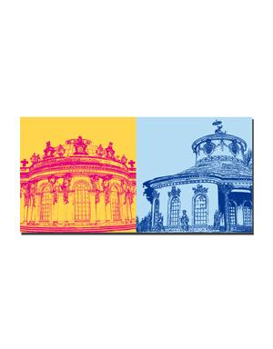 ART-DOMINO® BY SABINE WELZ Potsdam - Schloss Sanssouci + Chinesisches Teehaus