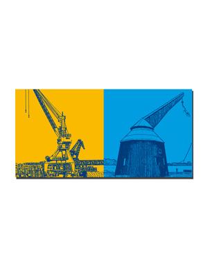ART-DOMINO® BY SABINE WELZ Rostock - Kräne Hafen + Hafentretkahn