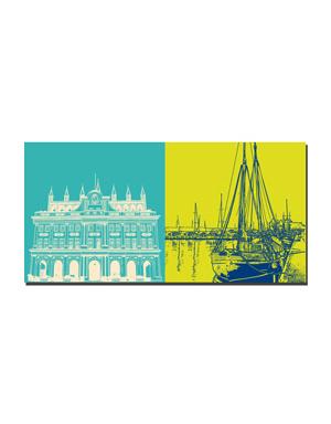 ART-DOMINO® BY SABINE WELZ Rostock - Rathaus + Schiff Rostock
