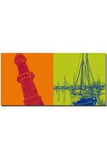 ART-DOMINO® BY SABINE WELZ Warnemünde - Leuchtturm + Schiff Rostock