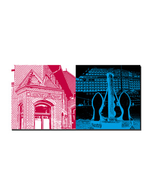 ART-DOMINO® BY SABINE WELZ Warnemünde - Am Bahnhof + Anker, geb. Reede Rostock