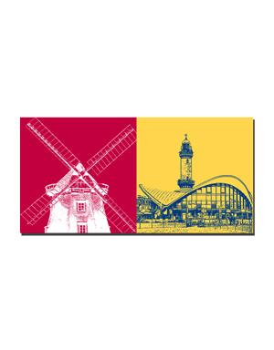 ART-DOMINO® BY SABINE WELZ Warnemünde - Meyer's Mühle 1866 + Leuchtturm mit Teepott