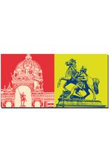 ART-DOMINO® BY SABINE WELZ Schwerin - Schloss Schwerin-Kuppel und Niklot-Statue + Rossbändiger