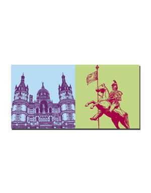 ART-DOMINO® BY SABINE WELZ Schwerin - Schloss Schwerin + Stadtgründer Heinrich der Löwe