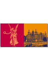 ART-DOMINO® BY SABINE WELZ Schwerin - Engelfigur im Burggarten + Schloss Schwerin mit Schlossbrücke