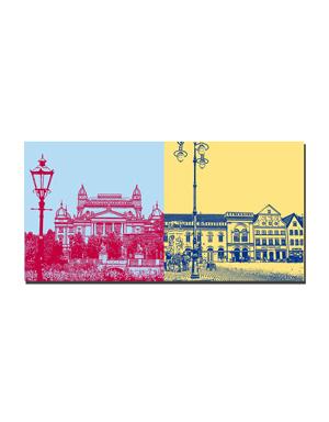 ART-DOMINO® BY SABINE WELZ Schwerin - Staatstheater und Laterne + Häuser am Altstädter Markt