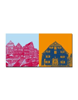ART-DOMINO® BY SABINE WELZ Stade - Fachwerkhäuser am Hansehafen + Schwedenspeicher Museum