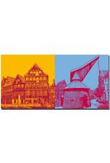 ART-DOMINO® BY SABINE WELZ Stade - Kunsthaus und Fachwerkhäuser + Hafentretkran am Fischmarkt