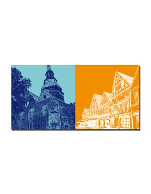 ART-DOMINO® BY SABINE WELZ Stade - Cosmea Kirche + Altstadthäuser