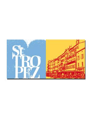 ART-DOMINO® BY SABINE WELZ Saint Tropez - Schriftzug Saint Tropez +  Häuser am Hafen und Seneqier