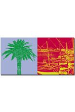 ART-DOMINO® BY SABINE WELZ Saint Tropez - Palme + Segelboote im Hafen