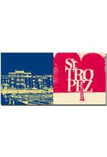 ART-DOMINO® BY SABINE WELZ Saint Tropez - Häuser am Hafen und kleine Boote + Schriftzug Saint Tropez