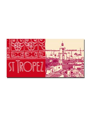 ART-DOMINO® BY SABINE WELZ Saint Tropez - Schriftzug Saint Tropez + Blick von Zitadelle