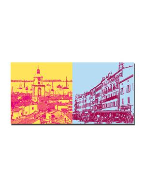 ART-DOMINO® BY SABINE WELZ Saint Tropez - Blick von Zitadelle +  Häuser am Hafen und Seneqier