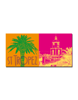 ART-DOMINO® BY SABINE WELZ Saint Tropez - Palme mit Schriftzug + Notre Dame de l'assomption