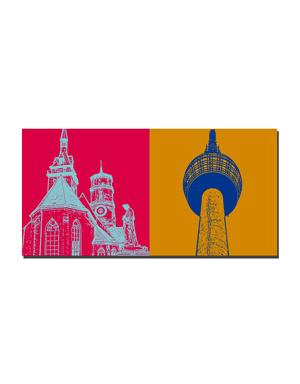 ART-DOMINO® BY SABINE WELZ Stuttgart - Stiftskirche + Fernsehturm