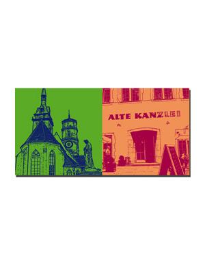 ART-DOMINO® BY SABINE WELZ Stuttgart - Schillerplatz + Alte Kanzlei