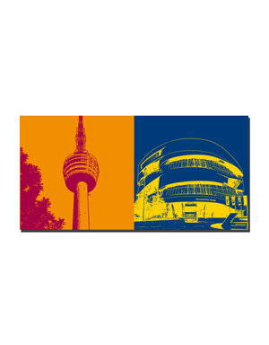 ART-DOMINO® BY SABINE WELZ Stuttgart - Fernsehturm + Mercedes-Benz-Museum