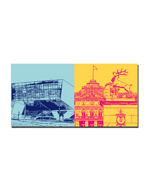 ART-DOMINO® BY SABINE WELZ Stuttgart - Porsche-Museum + Neues Schloss