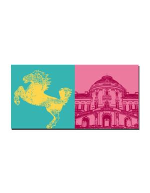 """ART-DOMINO® BY SABINE WELZ Stuttgart - """"Landespferd""""  + Schloss Solitüde"""