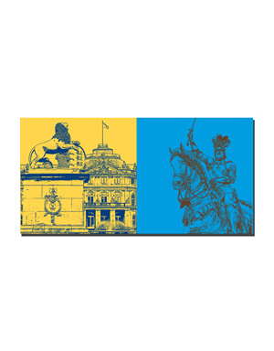 ART-DOMINO® BY SABINE WELZ Stuttgart - Neues Schloss + Reiterdenkmal